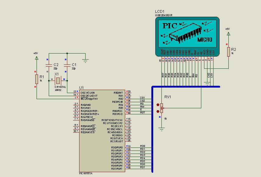PIC16F877 KS0108 Circuit Examples Microbasic Proteus Isis