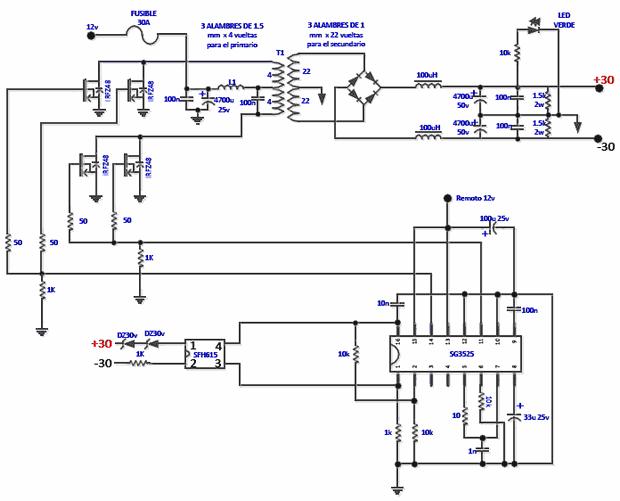 190W RMS Darlington Car Amplifier TIP142 TIP147 SG3525