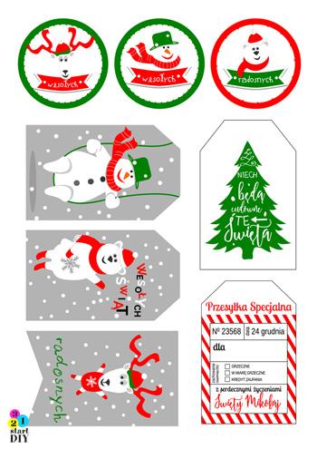 etykiety na prezenty świąteczne