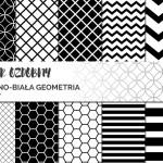 Papier ozdobny do druku #1 – geometryczne czarno-białe grafiki
