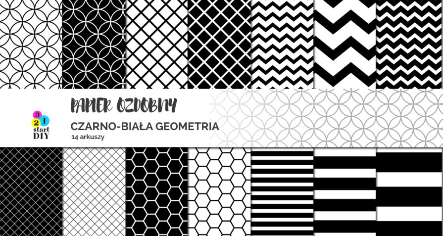 papier ozdobny do druku czarno-białe grafiki do pobrania
