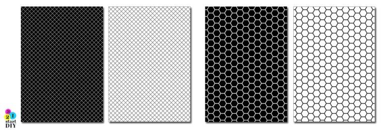 papier ozdobny do druku geometryczne czarno-białe grafiki do pobrania