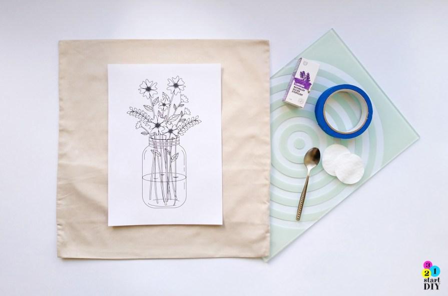 Poduszka z nadrukiem DIY -  transfer na tkaninę