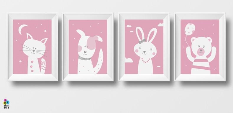 Plakaty Do Pokoju Dziecka Zwierzaki Słodziaki 321 Start Diy