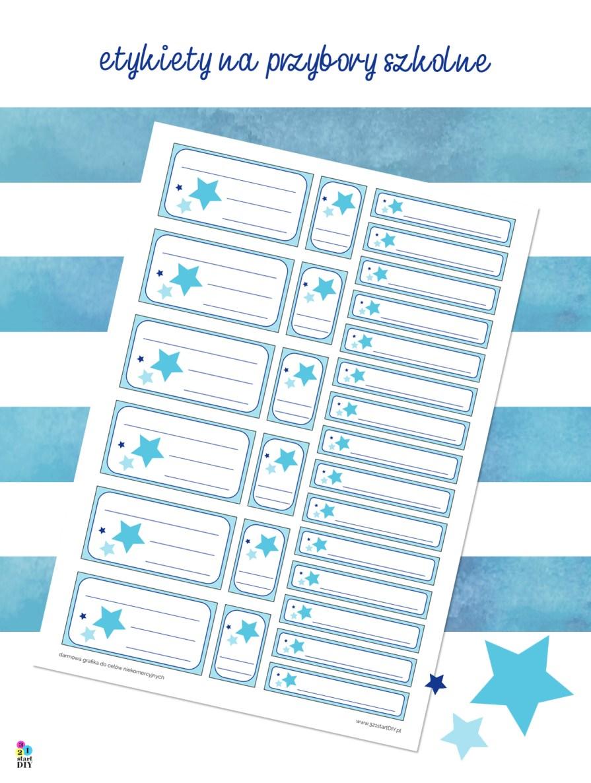 etykiety do druku - oznakowanie przyborów szkolnychetykiety na przybory - jednorożec