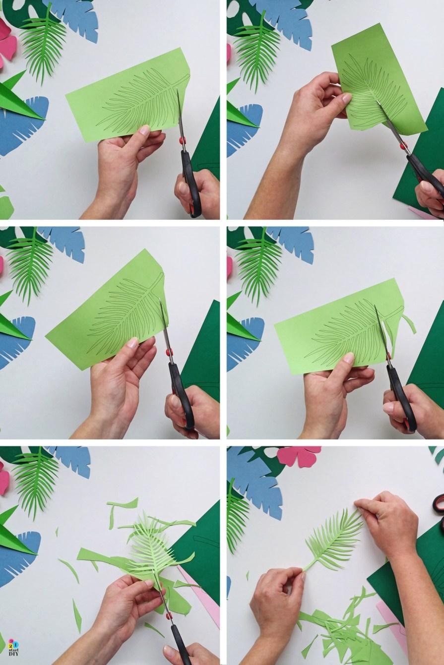 tropikalne liście - szablony do wycinania