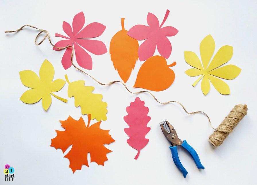 Szablony liści do wydruku, girlanda z liści