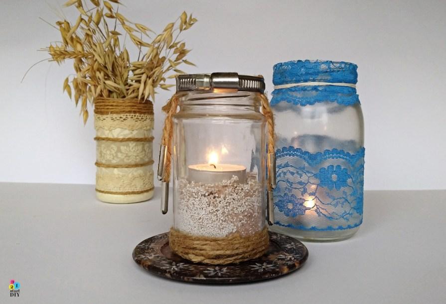 jak ozdobić słoik; świecznik ze słoika
