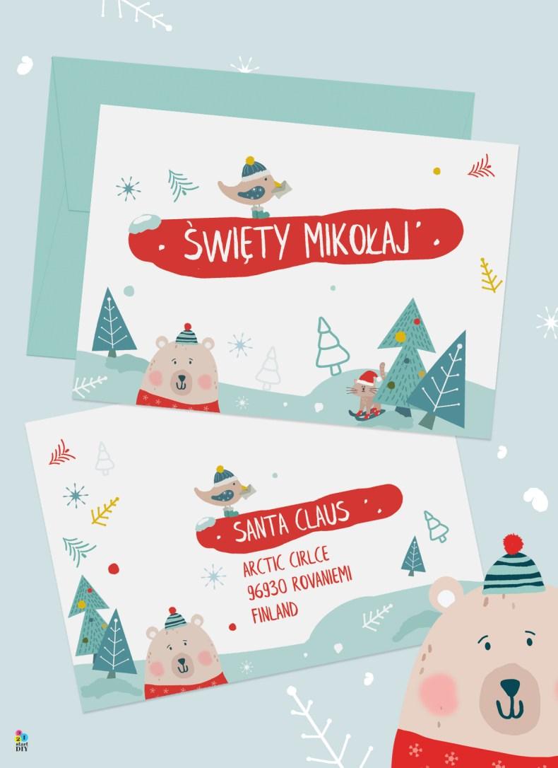 świąteczne koperty do druku
