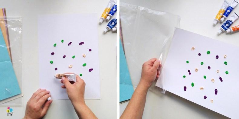 Mały artysta, obrazek serce, malowanie farbami