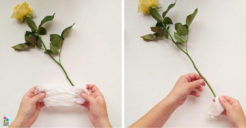 jedna róża udekorowana