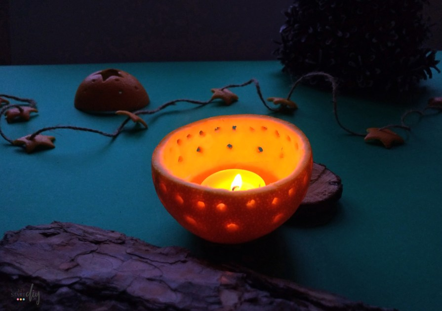 Świąteczne ozdoby z pomarańczy - świecznik z pomarańczy diy