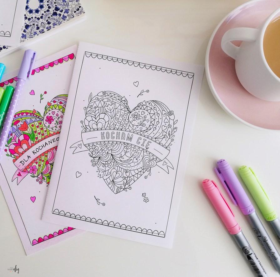 Uniwersalna kartka z sercem - do kolorowania
