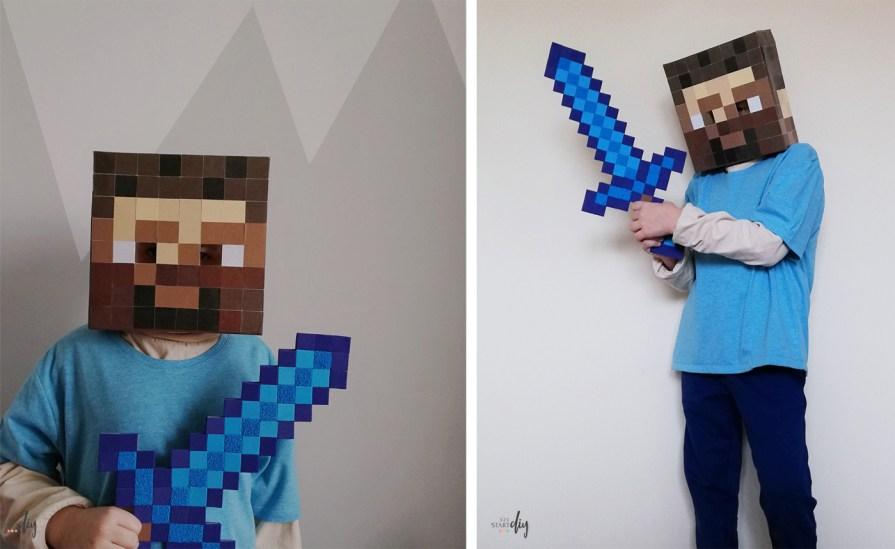 Strój Minecraft Steve diy, maska minecraft