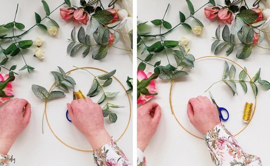 Wiosenny wianek z chwostami - dekoracja na drzwi lub ścianę; wianek na drzwi