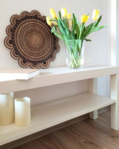 mandala na drewnie - dekoracja diy, zrób to sam