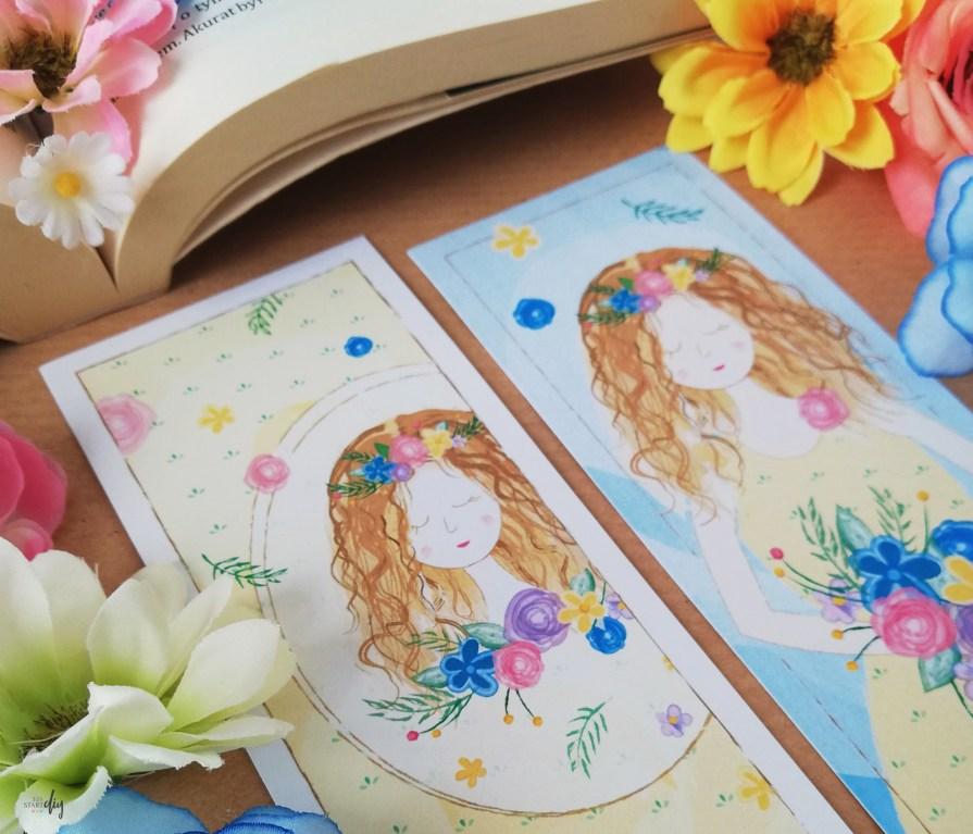 Dziewczyna z wiankiem - zakładki do książek do druku