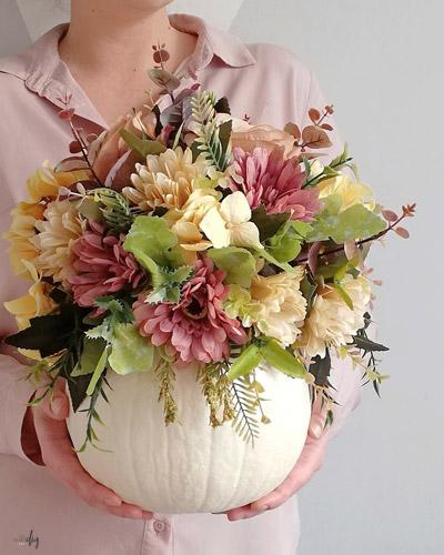 dekoracja, wazon z dyni