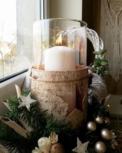świecznik w korze brzozy - dekoracja diy