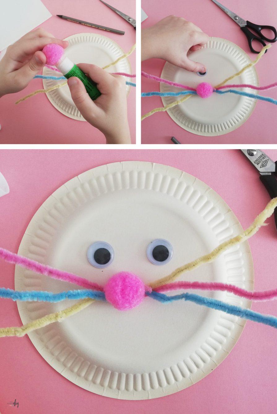 zając z papierowego talerzyka - nos i oczy