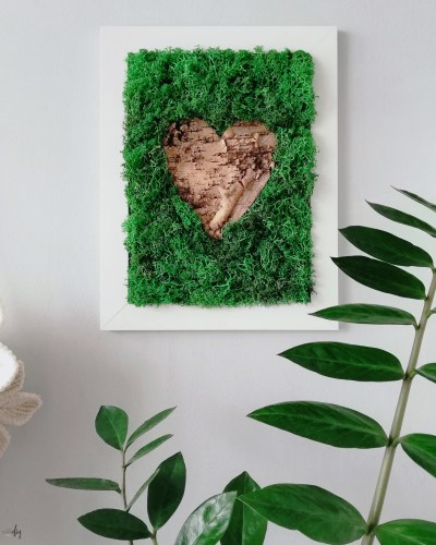 obraz z mchu i kory DIY