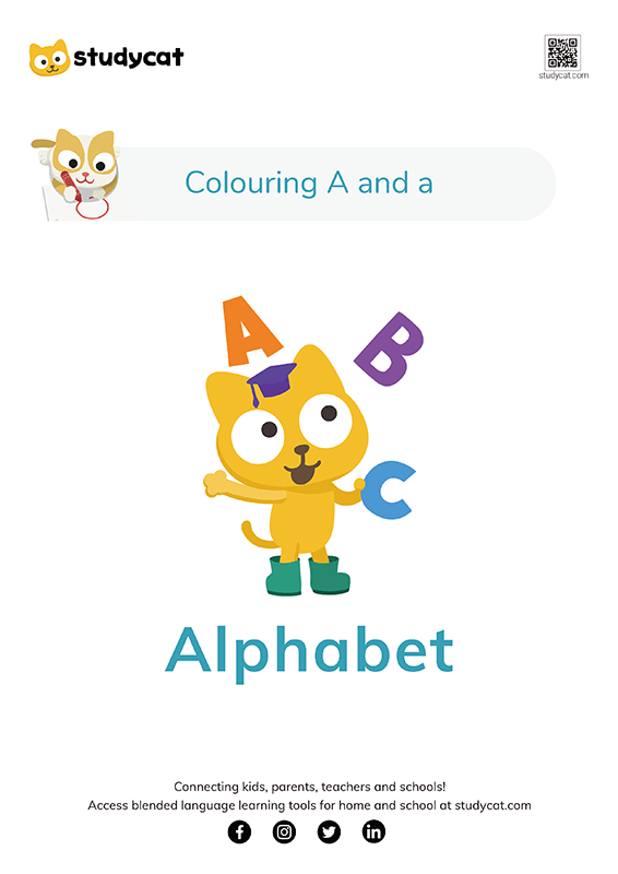Letter Aa Colouring Worksheets