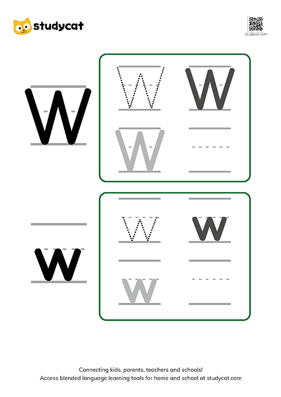 Letter Ww Writing Worksheets