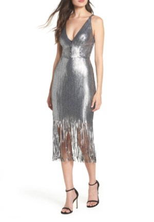 Dress The Population Frankie Plunge Dress Silver With Fringe Detail