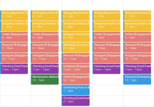 Here is what my Calendar Blocking calendar looks like this week.