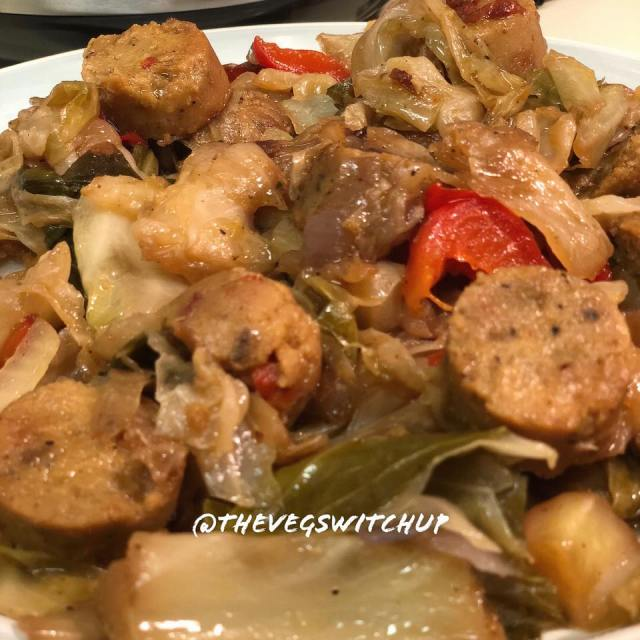 Cabbage With Sausage Vegan Meal