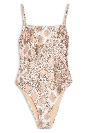 TOPSHOP, Snake Print One-Piece Tummy-Hiding Swimsuit