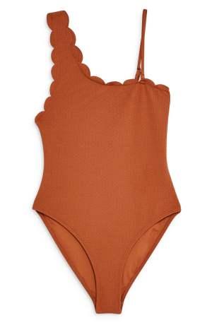 Topshop Scallop One-Shoulder Tummy-Hiding Swimsuit