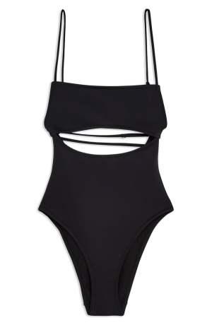 TOPSHOP Split Middle Neoprene Tummy-Hiding Swimsuit