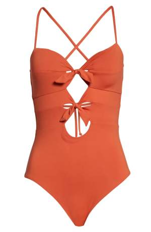 BECCA Double Tie Front One-Piece Tummy-Hiding Swimsuit