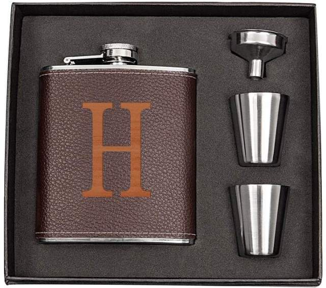 Cathys Concepts Cathy's Concepts 5-pc. Brown Leather Monogram Flask Set - Father's Day Gift