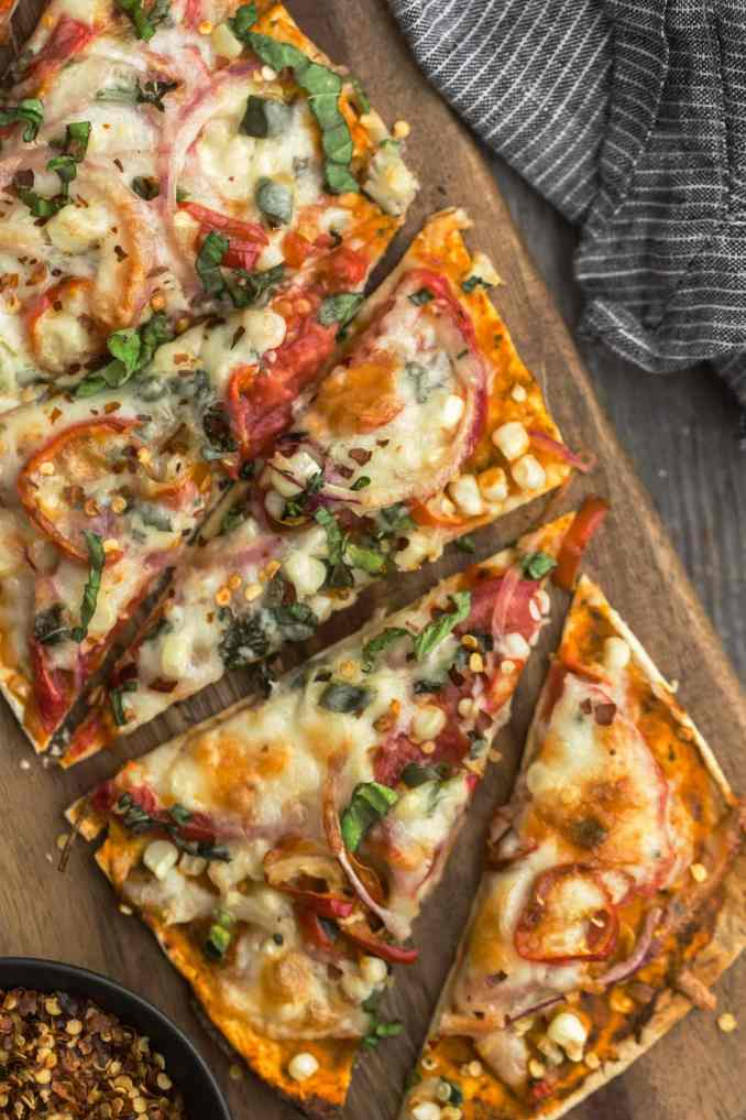 Easy Summer Flatbread with Tomatoes and Sweet Corn