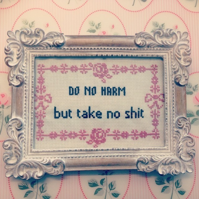 do no harm but take no shit, cross stitch, embroidery, thrifty finn