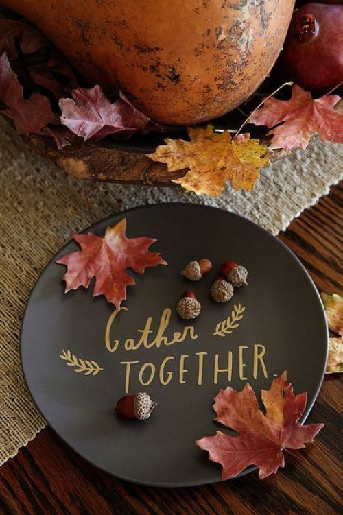 Fall Ideas and Inspiration Gather Together Thanksgiving Plate- Fall In Love with Fall- Fall Inspiration Pics  Frosted Events  www.frostedevents.com