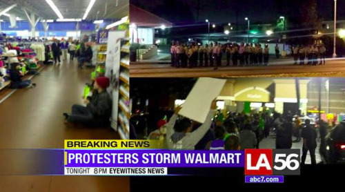 BREAKING NEWS:  </p> <p>Hundreds of employees of the US-based corporate conglomerate Walmart are protesting and sitting-in tonight in Pico RIvera, California - and riot police have arrived.  These employees are rising up and demanding the company stop punishing employees for trying to start a union for better pay and benefits (Walmart is well-known for extremely low wages and generally exploitative business practice towards its employees, unlike other stores like Costco and Wilco) - though mainstream news is not reporting it that way.</p> <p>We must deprive the rich of their ability to steal from the poor.   The Culture of Resistance takes many forms - and solidarity is our greatest weapon.  The only language abusers understand is force. </p> <p>Dismantle capitalism!</p> <p>http://ift.tt/15Dit6r http://ift.tt/1GVfyun