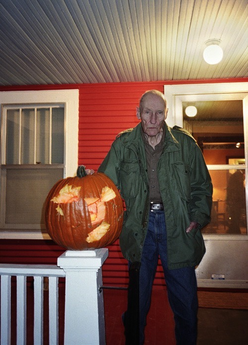 "dirtyoldhoe:</p> <p>mcnallyjackson:</p> <p>""William Burroughs with a Jack-O-Lantern he carved with a hatchet, October 31, 1996,"" by Philip Heying.</p> <p>Now this is scary…<br />"
