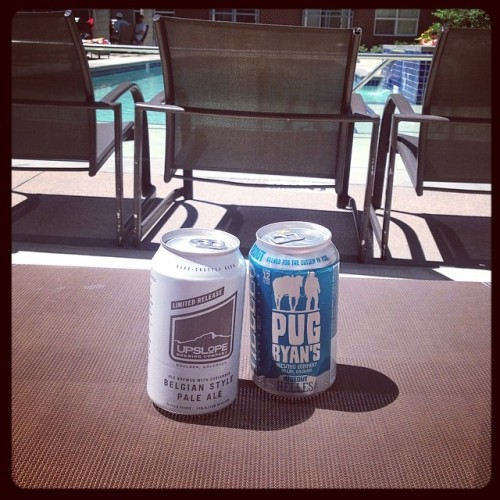 It's a good day to drink in the ☀ @upslope #drinkandspoon #beer #beerporn #beerstagram #pool #summer #craftbeer #colorado #denver