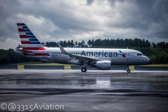 American's new Airbus A319 with Sharklets arriving at BGR