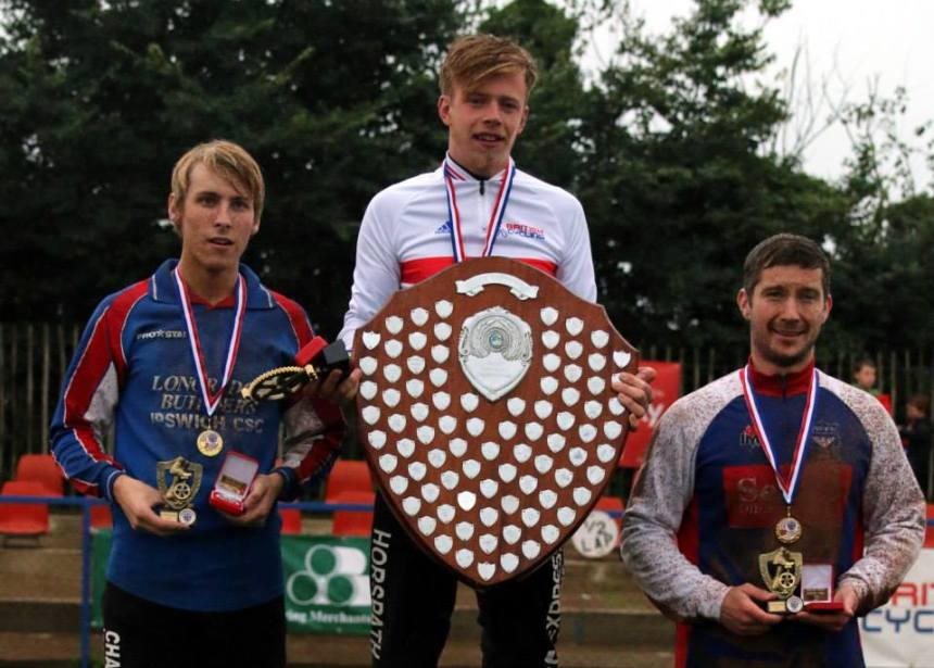 Zac on the podium with runner up Charlie Rumbold (left) and third placed Adam Peck (right). Picture Peter Payne.