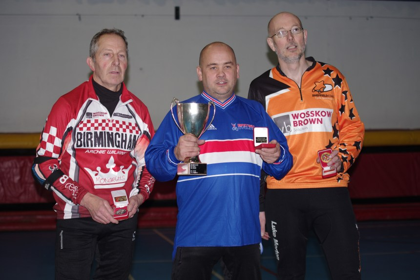 2015 British Indoor Veterans Champion Mark Whitehead, with runner up Luke Morton (right) and third placed Paul Timms (left)