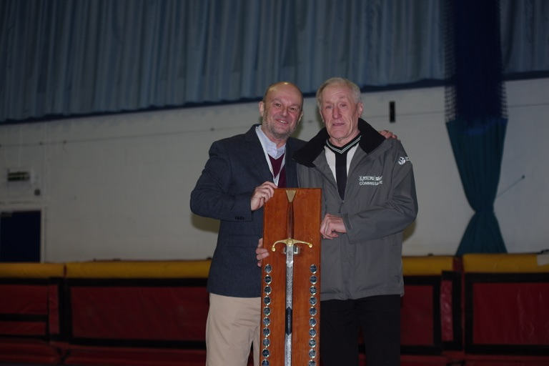 Bob Prince was presented with the Wilkinson Sword shield, for services to Cycle Speedway, by new BC Commission chairman, Colin Docker, earlier today.