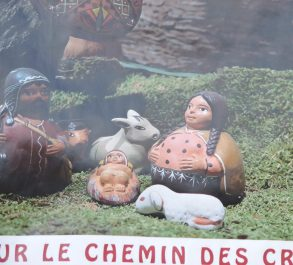 Christianity was introduced to the Canadian Indians in the 19th century. Today they reproduce their Crèches in synthetic resin for sale to tourists in their Reservation. shops.