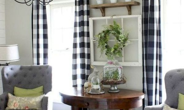 33 Stunning Farmhouse Living Room Curtains Design Ideas And Decor (15)