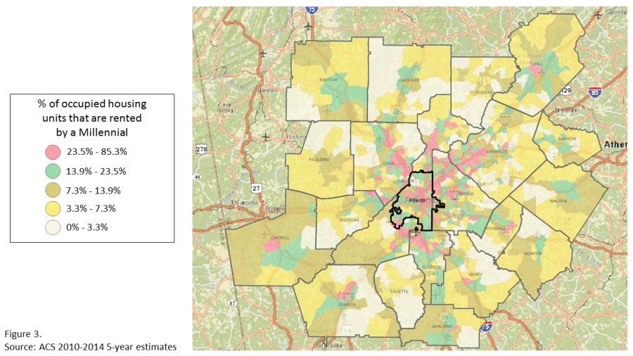 Density of housing units rented by Millennials in metro Atlanta