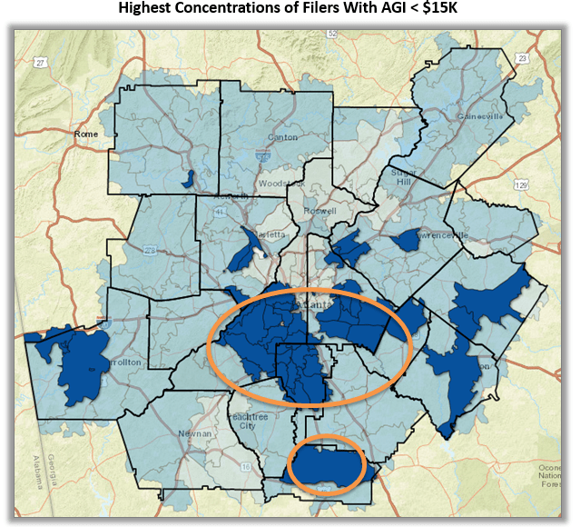 Map of metro Atlanta zip codes highlighting areas with <15K AGI