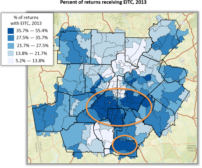Map of metro Atlanta zip codes by percent of EITC tax returns